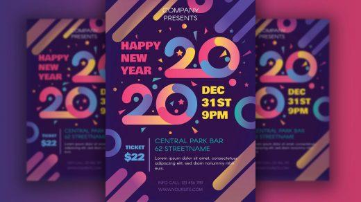 2020年新年快乐海报包含带有2020符号插图的现代传单,在标语,传单,邀请,印刷品,小册子,促销,假日背景和背景,横幅的明亮色彩主题中缩略图