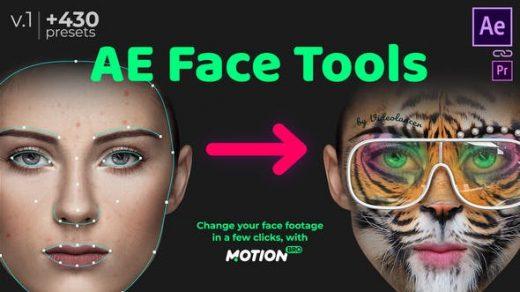 AE脚本-人脸面部追踪贴图表情化妆美颜丑化换脸锁定特效预设工具 AE Face Tools Win/Mac完整破解版缩略图