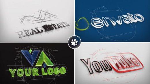 AE模板-建筑师素描徽标3d标志建筑建造企业动态挤压徽标Architect Sketch Logo缩略图