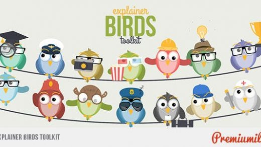 AE模板-解释鸟工具包2d动画鸟商业动画片字符Explainer Birds Toolkit缩略图