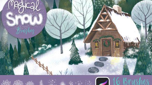 冬季雪花Procreate绘画笔刷套装缩略图