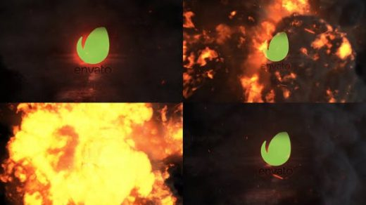 PR模板-爆炸徽标显示动作燃烧电影破坏PR徽标缩略图