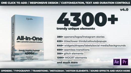 AE脚本+PR模板-4300种文字标题排版设计LOGO图形元素音效转场调色特效合集包 TG Library v4.0缩略图