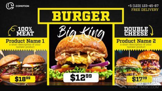 AE模板下载-餐厅酒吧咖啡馆美食菜单食品促销black restaurant menu food promo缩略图