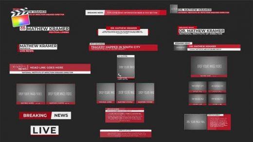 FCPX插件-20种新闻栏目介绍文字标题字幕条动画 News Minimal Lower Thirds缩略图