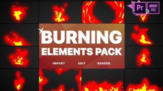 PR模板-动画卡通火焰火球烈焰热光燃烧元素Burning Elements缩略图