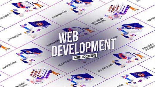 AE模板Web开发技术循环动画3D等距概念MG图形介绍缩略图