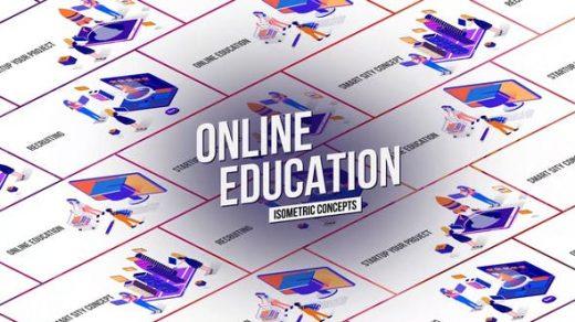AE模板制作在线教育概念图形动画介绍培训班机构网络动画缩略图