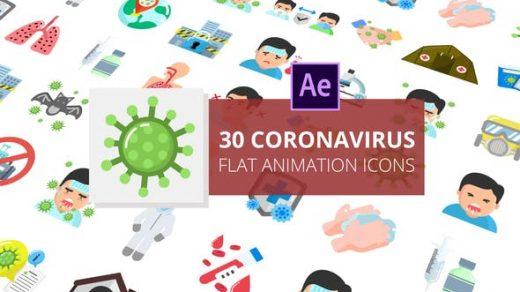 AE模板30个冠状病毒2D动画图标介绍健康防护介绍动画视频缩略图