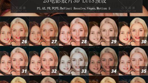 25电影胶片3D LUTS预设(PS,AE,PR,FCPX,ED)缩略图